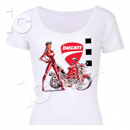 T-Shirt Ducati Donna Monster Woman Racing Strada Desmo